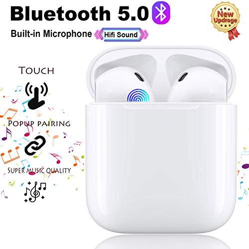 Bluetooth Kopfhörer 5.0, Touch Funk In-Ear-Ohrhörer, Sport-3D-Stereo-Kopfhörer, wasserdichtem IPX6,mit Portable Mini Ladekästchen und Integriertem Mikrofon für Apple Airpods Android iPhone