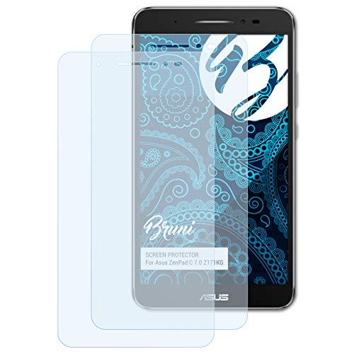 Bruni Schutzfolie kompatibel mit Asus ZenPad C 7.0 Z171KG Folie, glasklare Bildschirmschutzfolie (2X)