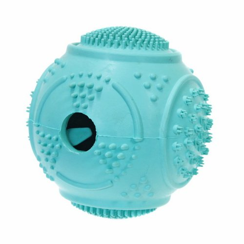 Pet Dentist-Rubber Dog Ball Dental Teeth Cleaner Removes Plaque from Teeth Gums Treat Ball Launcher Oral Care Toy Tough Durable Interactive Training Treat Dispenser and Non-Toxic Dog Chew Toys (Blue)