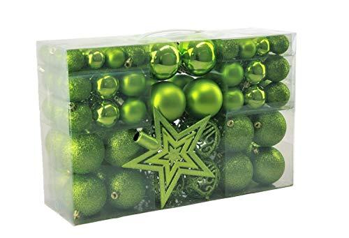 Geschenkestadl 100 palline di Natale con punta per albero, verde, Diametro: 3/6/4 cm