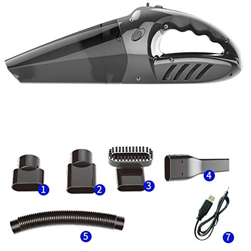 Buyall Car Vacuum Cleaner, Hand-Held Vacuum Cleaner, Wet And Dry, USB Charging, Use Is Not Limited by Distance, Suitable for Home, Car, Pet Hair, Dust Removal,Black