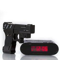Althemax Shooting Infrared Toy Gun Alarm Clock Target Panel Shooting LCD Screen Toy Games Gifts Black