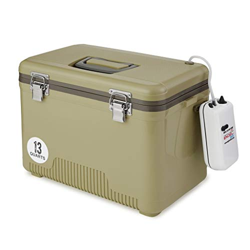 Tan Live Bait Drybox/Cooler with 2 Speed Aerator Pump