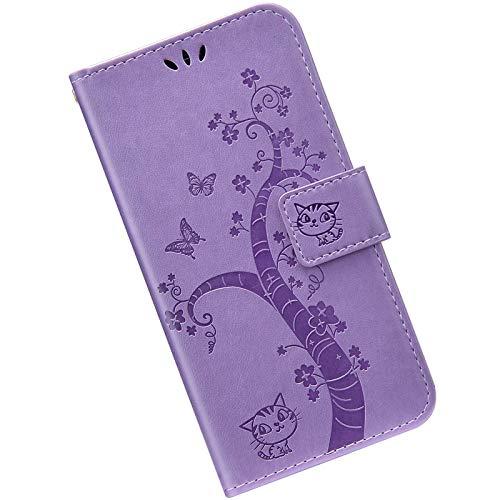 Kompatibel mit iPhone 11 Pro Hülle Leder Handytasche, Hülle mit Handykette Handyhülle Schmetterlings Prägemuster Muster Schutzhülle Brieftasche mit Magnet Kartenfächer Klapphülle,Lila