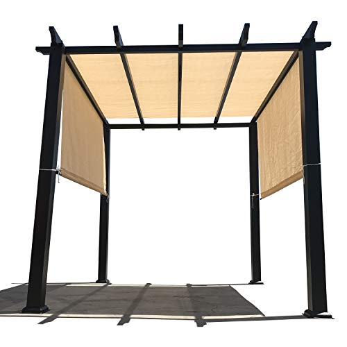 Alion Home Custom HDPE Permeable Canopy Sun Shade Cover Replacement with Rod Pockets for Pergola (14' x 8', Banha Beige)