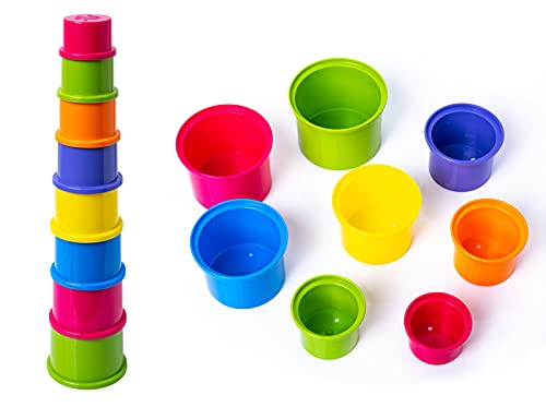 Baby Kids 8 Piece Stacking Cups Stackers Pre-school Learning Toy Stacking Tower Pyramid
