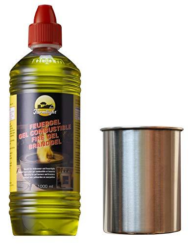 Moritz Starter Set 1 x 1000 ml Brenngel + 1x Edelstahldose 500 ml für Brenner Kamin Ofen Sicherheitsbrenner Brennpaste
