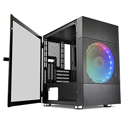 Vetroo M01 Mid-Tower Computer Case, Compact Micro-ATX Mesh Airflow Gaming PC Case with 200mm Rainbow Fan, Tempered Glass Panel, 280mm Water Cooler Support
