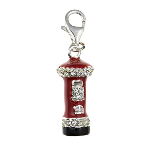 Rot Emaille & Kristalle Post Box/Pillar Box Sterling Silber Wechselrahmen Charm–für Thomas Sabo Charm-Armbänder