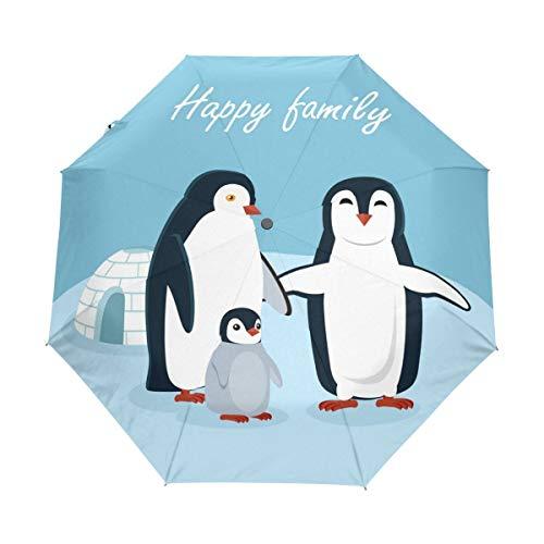 AOTISO Happy Family Penguins Snow Igloo Winter Auto Open Close Foldable Umbrella