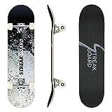STREAKBOARD Planche à Roulette, 80 x 20 cm Skateboard Complet, Concave Planche en Érable Canadien à 7 Couches, Skateboard Tricks Adulte pour Débutants et Pros