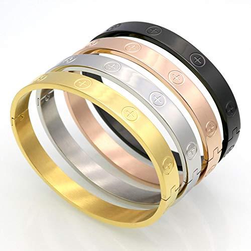 WDam Diseño de circón y Tuerca Cruzada, Pulseras de uñas, brazaletes para Mujer, joyería de Marca de Lujo, joyería de Tornillo de Acero Inoxidable