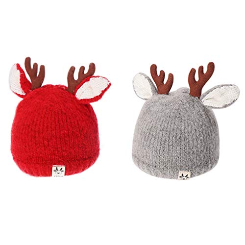 BESPORTBLE Reindeer Antlers Baby Beanie Soft Warm Crochet Knitted Hat for Toddler Girls Boys Christmas Costume Accessories Holiday Photo Props 2pcs