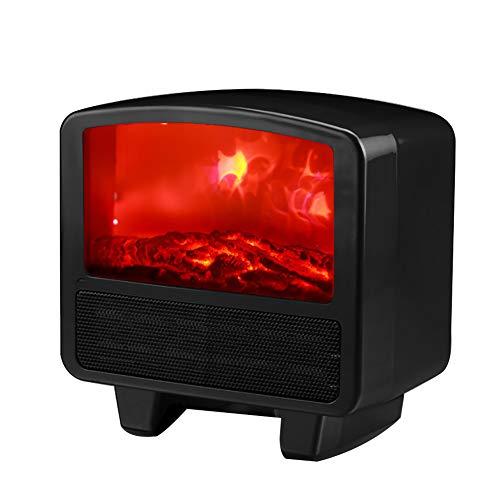 MZBZYU Estufa Eléctrica De Bajo Consumo Mini Portátil 800/1000W Calentador con Llama Simulada Adecuado para El Hogar El Baño La Oficina,Black