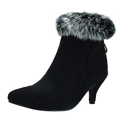 MISSUIT Damen Kitten Heels Stiefeletten Spitze Ankle Boots mit Fell und Reißverschluss Hinten Herbst Winter Schuhe(Schwarz,37)