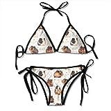 Conjunto de Bikini de Conejillos de Indias para Mujer, con Cordones, Trajes de baño de Dos Piezas, Traje de baño Sexy, Negro