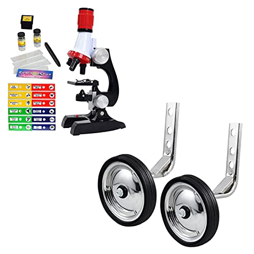 Science Kits for Kids Beginner Microscope with Sample Prepared Slides 12pc, Training Wheels 1 Pair Heavy Duty Rear Wheel for Kids Bikes for Bikes of 14 16 18 Inch