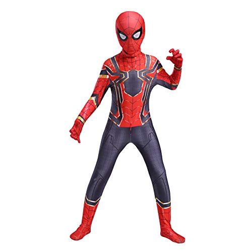 RNGNBKLS Kind Spiderman Kostüm Halloween Karneval Cosplay Party Anzug Superheld Spandex/Lycra Verkleidung,A-130(120-129cm)
