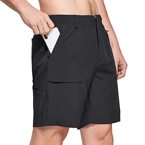 BALEAF 7' Cargo Shorts for Men Lightweight Stretchy Elastic Waist Quick Dry Shorts with Zip Pockets Hiking Fishing Black Size XL