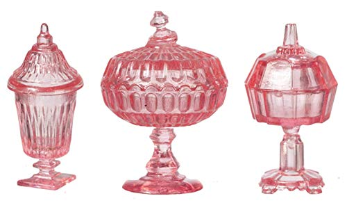 Melody Jane Dollhouse Pink Candy Dishes & Lids Chrysnbon Miniature 1:12 Scale Ornaments
