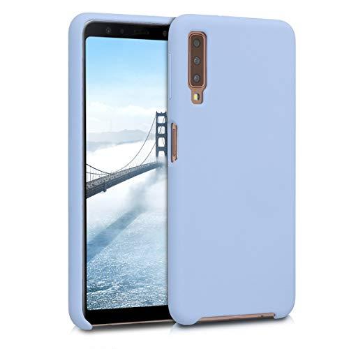kwmobile Hülle kompatibel mit Samsung Galaxy A7 (2018) - Handyhülle gummiert - Handy Case in Hellblau matt