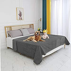 fuguitex Waterproof Dog Blanket Bed Cover Dog Crystal Velvet Fuzzy Cozy Plush Pet Blanket Throw Blanket for Couch Sofa(6880″,Dark Grey+Dark Grey
