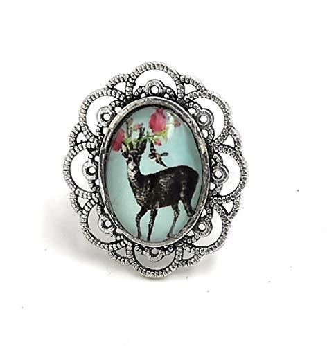Münchner Glitzerwelt Trachten Ring mit Hirsch Glasstein 16-21mm Farbe Silber Trachtenschmuck