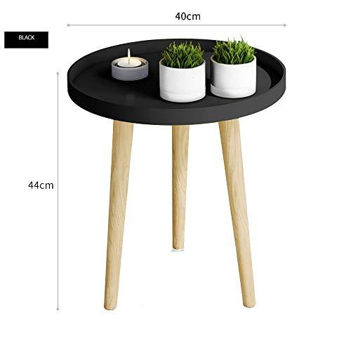BinLZ-Table Kleiner Runder Tisch Couchtisch Nachttisch Ecktisch Sofa Beistelltisch Palettentisch Esstisch Optionale Farbe, Größe, Schwarz, 40 * 44 cm