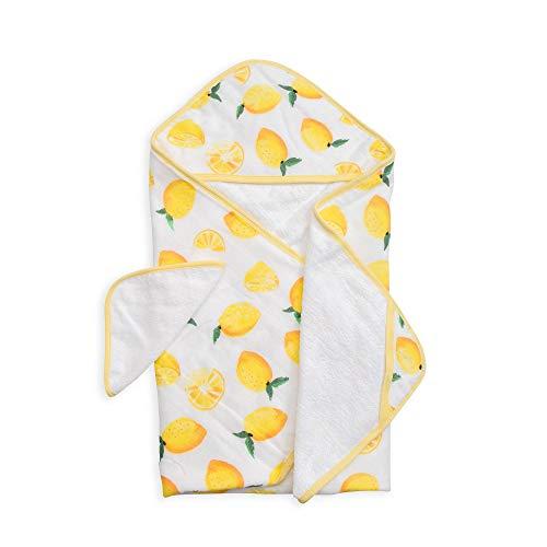 "Little Unicorn Cotton Hooded Towel & Wash Cloth Set – 100% Cotton - Machine Washable – Towel 30""x 30"", Washcloth 8""x 8"" - Playful Designs – Infants to 3T – for Boys & Girls - Summer Poppy (Lemon)"