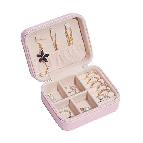 Caja de joyería PU Maquillaje Lápiz Labial Anillo Pendientes Caja de Almacenamiento Viaje Cosmético Joyas Organizador de ataúdes Contenedor de Belleza Collar Regalo
