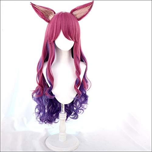 HNWNJ Pelucas de anime largo rizado ondulado peluca para niñas, pelucas coloridas para cosplay, disfraz de fiesta, peluca esponjosa (color: A)