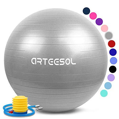 arteesol Gymnastikball 45cm/55cm/65cm/75cm Yoga Ball Auti Burst Core Gymnastikball mit Schnellpumpe für Pilates Training Fitness Geburt Schwangerschaft (Silber, 55cm)