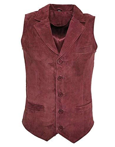 Chaleco de ante para hombre, color marrón, negro, verde oliva, informal, vintage, retro Rojo granate XXL