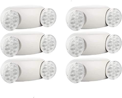 SPECTSUN Emergency Light White, Commercial Emergency Light with Battery Backup, Emergency Lighting Fixture/Emergency Light Combo/Emergency Sign Light//Emergency Light Home - 6 Pack (Round Head)