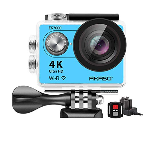 AKASO 4K Wi-Fi Sports Action Camera Ultra HD Waterproof DV Camcorder 12MP 170 Degree Wide Angle LCD Screen/Remote, Royal Blue (EK7000BL) (Renewed)
