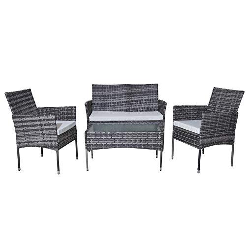 Garden Furniture Set Corner Patio Sofa Dining Set Rattan Wicker 4 piece Grey