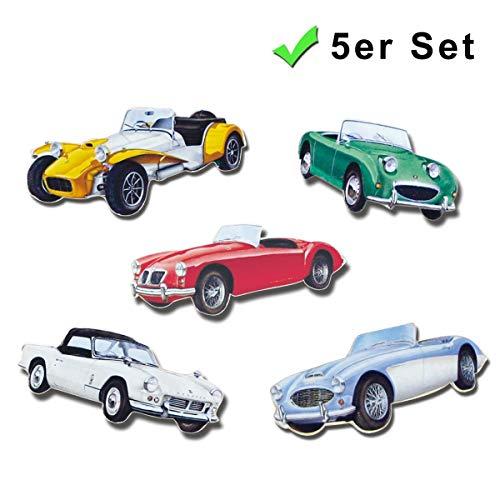 Kühlschrankmagnete Auto Nostalgie Deko Magnete 5er Geschenk Set Englische Sportwagen stark für Kühlschrank Magnettafel Autofans Bunt