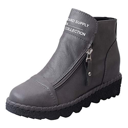 Dorical Klassische Stiefel für Damen,Frauen Stiefeletten Schlupfstiefel Boots mit Double Reißverschluss,rutschfest Damenstiefel(Grau,35 EU)