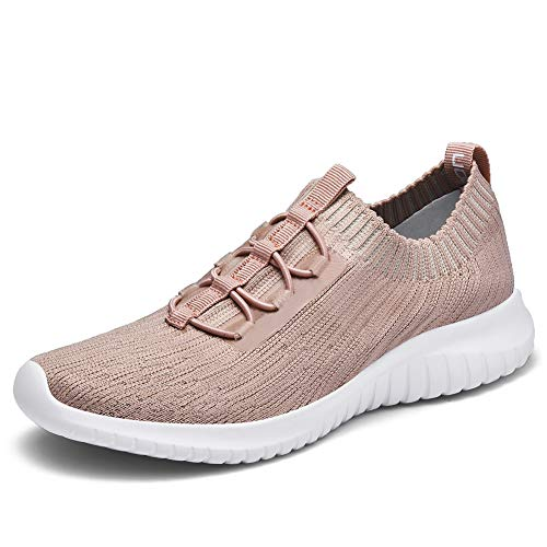 TIOSEBON Women's Lightweight Casual Walking Athletic Shoes Breathable Running Slip-On Sneakers 5 US Apricot