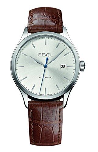 Ebel classico argento quadrante Brown Alligatore in pelle automatico orologio da uomo