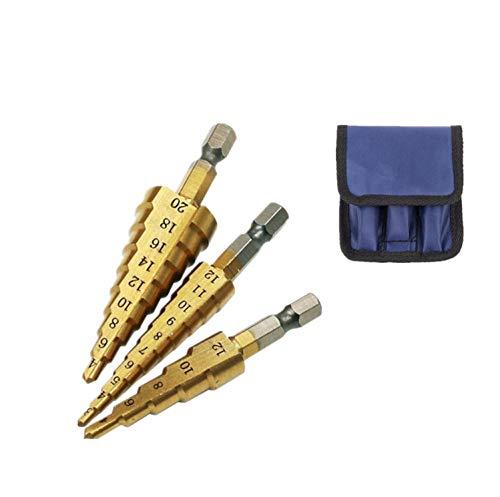 Brocas escalonadas acero de alta velocidad broca cónica recubierto de titanio vástago hexagonal brocas de espiral-Juego de 3 piezas de 4-12/3-12/4-20 mm para acero madera plástico metal etc (Oro)