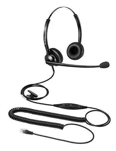 Beebang Auriculares de Call Center Auriculares de teléfono Auriculares de Doble Oreja RJ9 con micrófono de cancelación de Ruido para Cisco Yealink Fanvil Grandstream Htek Huawei Dlink Akuvox E
