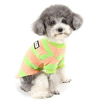Zunea Pull-Overs pour Petit Chien Manteau d'hiver en Coton Doux Rayé Chaud Chiot Chat Veste Vêtements pour Animaux Chihuahua Yorkshire Rose S