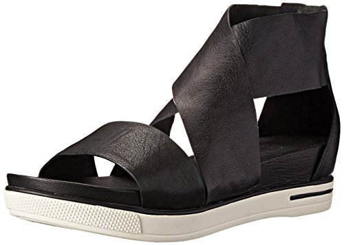 Eileen Fisher Women's Sport Sandal, Black Tumbled Leather, 7.5 M US