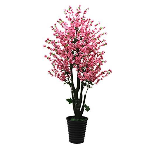 NIBABA Flores Artificiales Artificial melocotón Flor del árbol del Paisaje de Gran Planta en Maceta de Bonsai Decoración del Arte Accesorios De Decoración De Mesa (Color : Pink, Size : One Size)