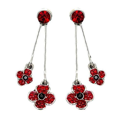 Equilibrium Silver Plated Double Poppy Crystal Earrings Gift 69147