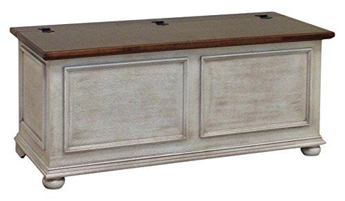 Pieffe Mobili Sitzbank-Truhe, Holz, Weiß Decapè, Nussbaum-Platte, 120x 42x 50cm