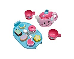 """""""Magical"""" teapot spout lights up as toddlers pour out the fun Press the music tea bag button on the teapot for more fun lights, songs and sounds Ten play pieces: arrange the five shape """" treats """" on the tray for enhanced puzzle play 30 plus songs..."""