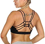 icyzone Strappy Sports Bra for Women - Medium Support Crisscross Yoga Bra Padded Workout Running Tops (Black, Medium)
