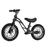Bueuwe Bicicleta Sin Pedales para Niños 12' Bicicleta De Equilibrio con Marco Aleación Magnesio Aicicleta Equilibrio Bici con Sillín Ajustables 2 3 4 5 6 Años hasta 35 Kg,Negro